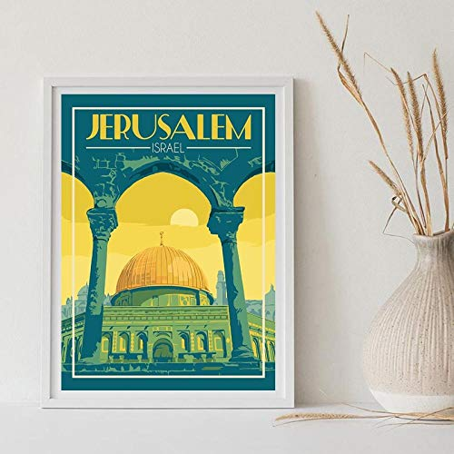 cgsmvp Jerusalem Israel Travel Art Druckkarte Leinwand Poster für Wohnzimmer Home Decor/50x70cm-kein Rahmen