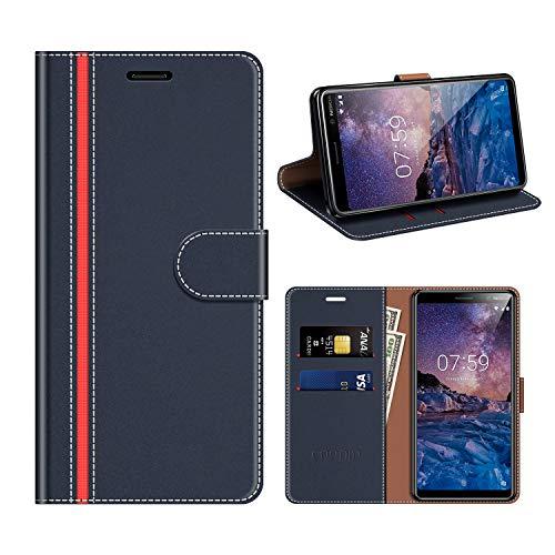 COODIO Nokia 7 Plus Hülle Leder, Nokia 7 Plus Kapphülle Tasche Leder Flip Cover Schutzhülle Rugged für Nokia 7 Plus Handyhülle, Dunkel Blau/Rot
