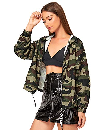 Romwe Women's Casual Camo Thin Long Sleeve Zip Up Lightweight Outwear Bomber Crop Jacket Camo X-Large