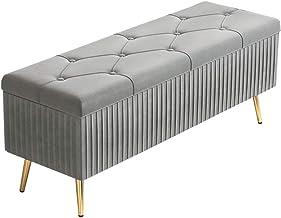 LJFYXZ Ottoman Footstool Velvet upholstered Footstool Home Living Room Bedroom Rectangular Stool Large Capacity Storage Me...