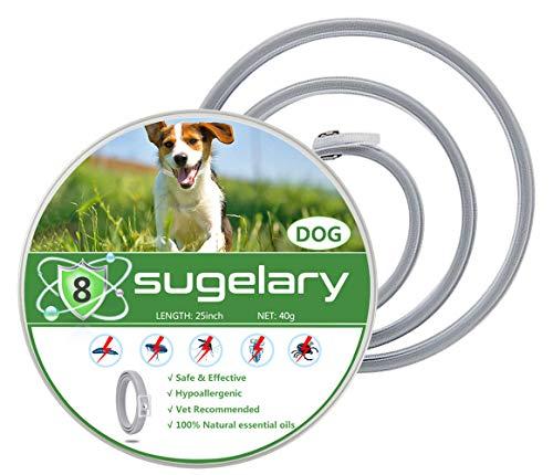 Sugelary Collare Antipulci Cane, Impermeabile Trattamento delle pulci Naturale per Grande Medio Piccolo Cani, di Protezione per Contro Parassiti e Insetti Protezione Stagione Completa (63 cm) (1)