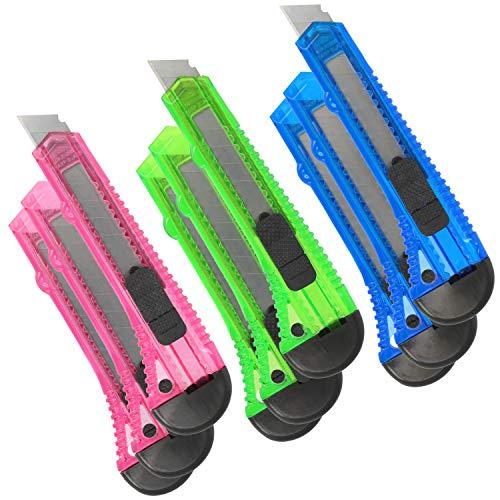 com-four® 9X Cuttermesser Teppichmesser bunt - Scharfes Hobbymesser (15 cm - 09 Stück)
