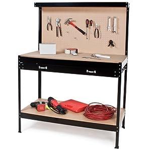 Take Banco de trabajoMesa de Trabajo para Taller Bricolaje Pared Herramientas cajón - Varias tamaños (Typ 1   120x60x156 cm   400855)