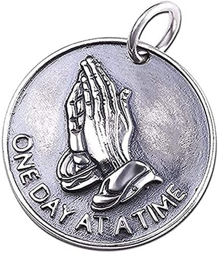 Yiffshunl Collar Moda Vintage Ley sólida 925 Versículo bíblico Manos en oración Moneda Medalla Colgante Collar Mujeres Hombres