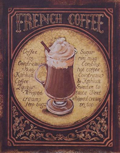 Casa Padrino Deko Zinn Schild/Blechschild French Coffee Mehrfarbig 20 x H. 25 cm - Vintage Retro...