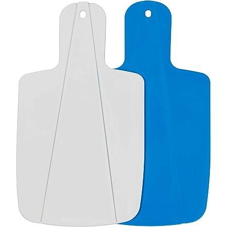 Kitchen Helpis® Tabla de Cortar Plegable, Set de 2 (azul y blanco), Tabla de Cocina, Tabla de corte para camping, ayuda práctica de cocina, tabla de cortar frutas y verduras para la blandura