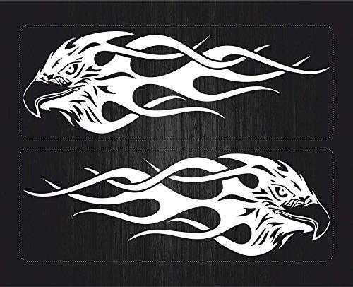 Akachafactory Aufkleber für, Auto, Motorrad, selbstklebend, Motiv: Tribal Adler mit Flammen, Weiß, 6 Stück