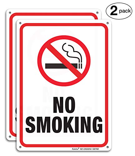 No Smoking Sign,2 Pack No Smoking Metal Reflective Signs - 10 x 7 .040 Rust Free Heavy Duty Aluminum Sign - UV Printed with Professional Graphics - Easy to Mount - Indoor & Outdoor Use