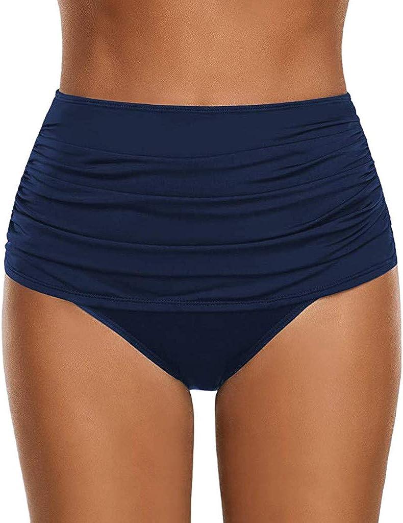 Forwelly Women's High Waisted Swim Bottom Ruched Bikini Tankini Swimsuit Briefs Tummy Control Swimsuit