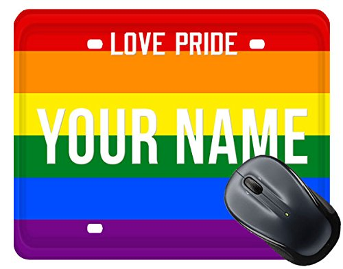 BleuReign(TM) Personalized Custom Name License LGBT Plate Square Mouse Pad