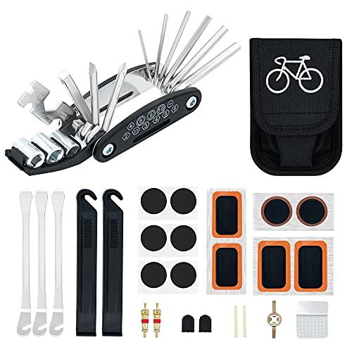 Mcbazel Kit de herramientas de reparación de bicicletas 16 en 1 con kit de parches y kit de herramientas de reparación de palancas de neumáticos/bolsa de almacenamiento