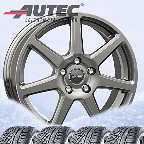 Autec Tallin - Ruedas de invierno (4 unidades, 6,5 x 16, ET45, 5 x 108, plata de titanio 205/55R16 91H, Hankook Winter i*cept W452 RS2 PE)