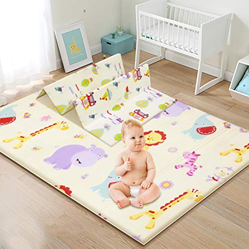 Baby Play Mat Extra Large Baby Crawling Mat Portable Waterproof Non Toxic Soft Foam AntiSlip Folding Puzzle Mat Playmat for Infants Toddlers Kids Indoor or Outdoor Use 100 X 180cm