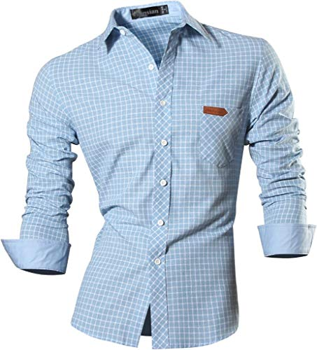 jeansian Herren Freizeit Hemden Slim Long Sleeves Casual Shirts Dress Shirts Tops (USA L, 8615_LightBlue)