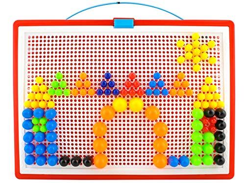 ISO TRADE Buntes Steckspiel Mosaik-Steckspiel 300 Stecker in 3 Größen Koffer #4501