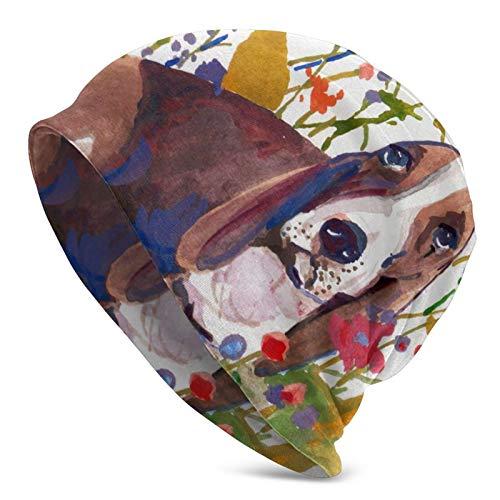 COOL-SHOW Flower Cluster Basset Hound Hund Depression Wintermütze Warm Bequem Weich Strickmützen Gefüttert Erwachsene Strickmütze Cap Beanie Unisex für Damen/Herren Schwarz