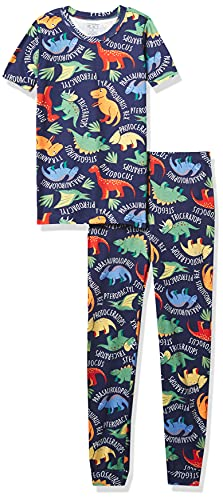 The Children's Place Baby and Toddler Boys Dino Snug Fit Cotton Pajamas, Thunder Blue, 3T