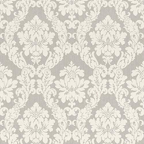 Casa Padrino Barock Textiltapete Weiß/Beige/Creme/Grau/Silber - 10,05 x 0,53 m - Stofftapete im Barockstil