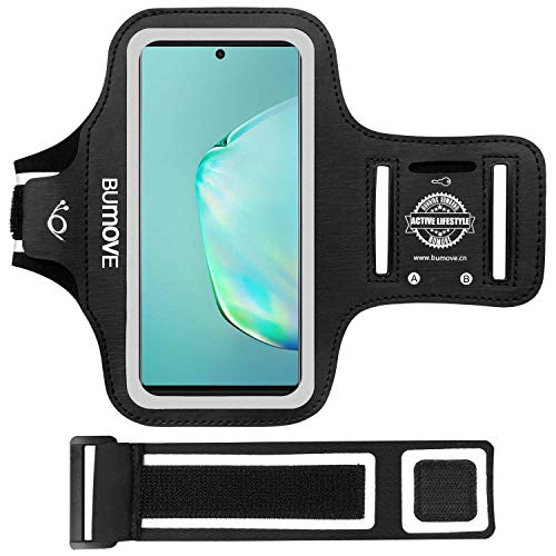 Note 20 Ultra, 20, 10+, 9, 8 Armband, BUMOVE Gym Running Workouts Sports Cell Phone Arm Band Holder for Samsung Galaxy Note 20 Ultra/20/10 Plus/9/8 (Black)