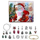 24日間のクリスマスアドベントカレンダーファッションジュエリー、2020チャームジュエリークリスマスカウントダウンカレンダー、女の子のためのアドベントカレンダーブレスレットネックレスギフトボックス