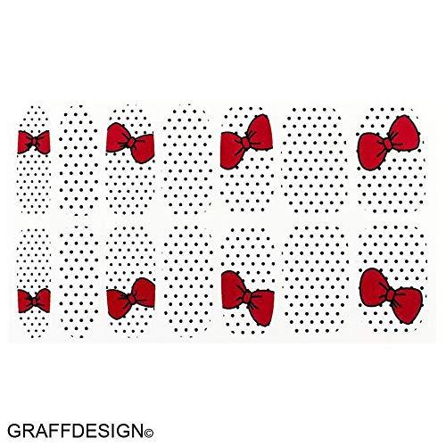 One Stroke Sticker, Nail Tattoos - Wraps - mit roten Schleifen und schwarzen Pünktchen - 702-QDW09