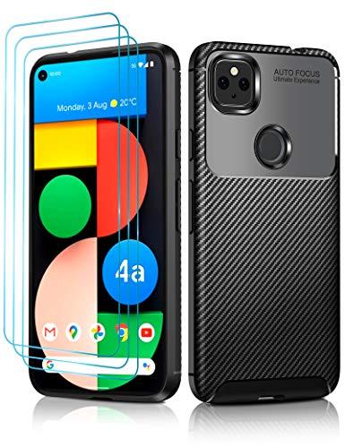 ivoler Schutzhülle für Google Pixel 4a 5G mit [3 Stück] Bildschirmschutzfolie, [Kohlefaser-Muster], Fallschutz, stoßfest, dünn, kratzfest, für Pixel 4a 5G (nicht passend für 4G) Bumper Hülle – Schwarz