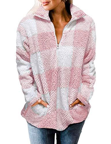 MEROKEETY Women's Plaid Sherpa Fleece Zip Sweatshirt Long Sleeve Pockets Pullover Jacket, Pink, XL