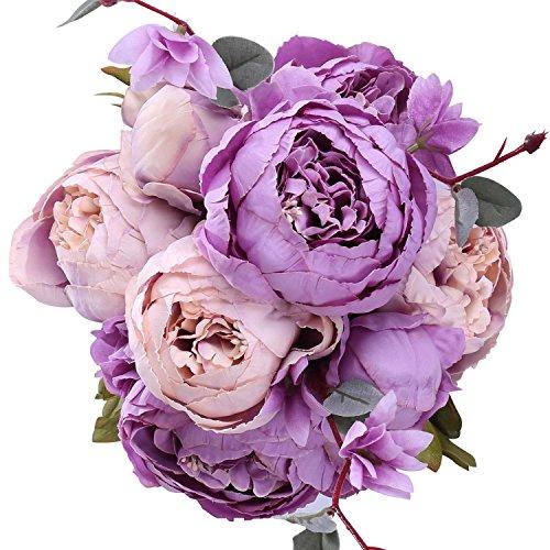 StarLifey Schön Künstlich Blumen Pfingstrosen Blumenstrauß Künstlich Blumenstrauß Für Hochzeit Party Fest Haus Büro Bar Dekor Lila & Rosa