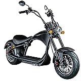 Chopper E-Mobil 45 km/h Elektro Roller E Scooter Straßenzulassung Elektroroller (schwarz)