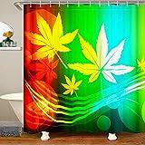 Cortina de ducha de tela con hojas de marihuana, cortina de ducha de hojas de cannabis para niños y niñas, colorida hoja de marihuana, impermeable, con ganchos, 180 x 210 cm