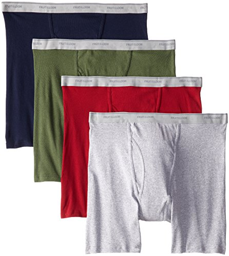 Fruit of the Loom Men's No Ride Up Boxer Brief (Medium, Assorted (4-Pack))