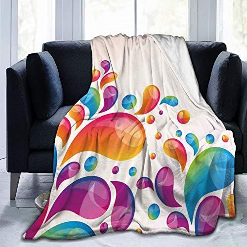 Manta mullida, lindas gotas de lluvia en diferentes tamaños en colores degradados, diseño abstracto de salpicaduras, ultra suave, manta para dormitorio, cama, TV, manta para cama de 80 x 60 pulgadas