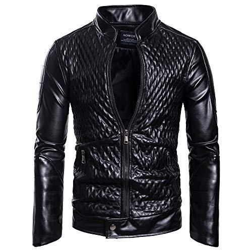 WAMLJ Chaqueta de Moto Slim fit para Hombre Chaqueta de Cuero Chaqueta de Motorista Negro Abrigos de Cuero Real