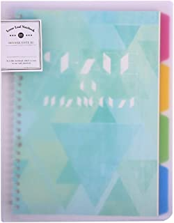 B5 Binder Portfolio Notebook with 26 Rings/Holes, 5 Subject Spiral Paper notecook 4 Colored PP dividers with tabs for Labels & Large hardcover 7x9 notecook Organizer Wide Ruled Lined Notepad journals