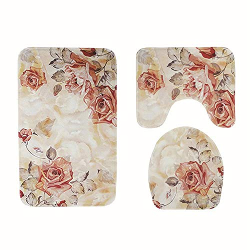 Badkamer Mat Set 3 stks Bad Tapijt antislip Mat Voor Wc Traagschuim Badkleden Absorberende Badmat Wc U Type Mat, bloemen 1,3 STKS