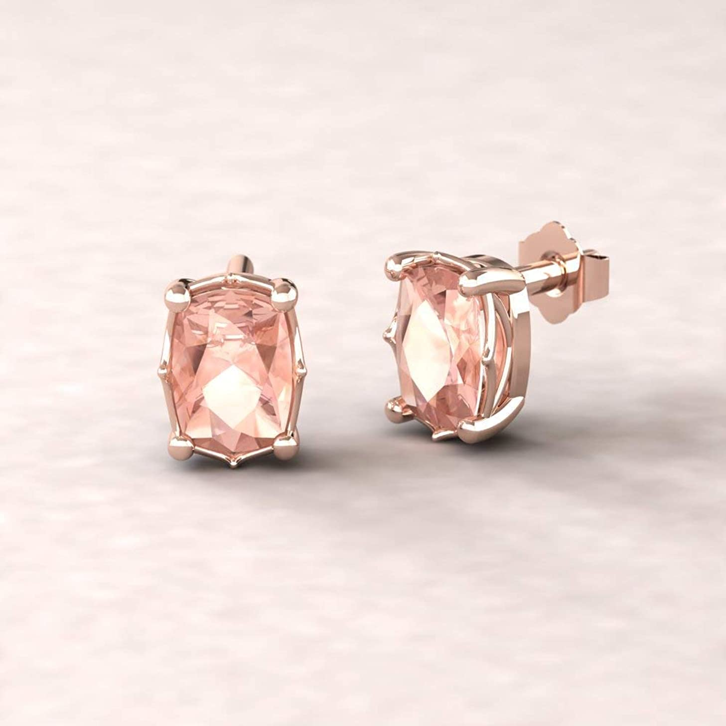 Rectangular Cushion Morganite Earrings - 7x5mm Solitaire