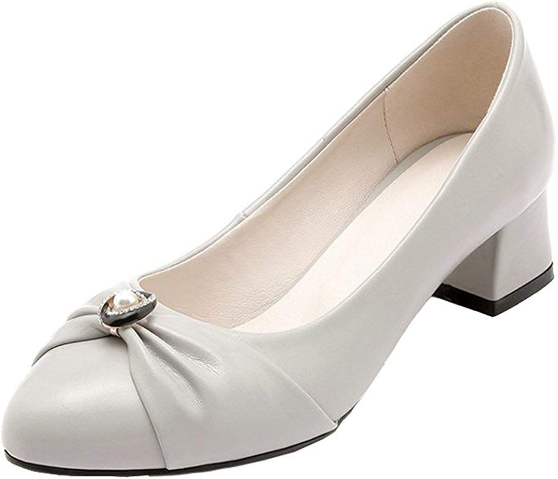 Unm Women's Vintage Beaded Rhinestone Low Cut Dressy Pointed Toe Block Mid Heel Slip On Pumps shoes