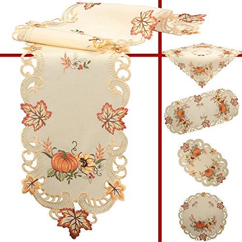 Quinnyshop Kürbis und Sonnenblume Stickerei Mitteldecke 85 x 85 cm Polyester, Creme