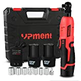 """Cordless Electric Ratchet Wrench, 3/8"""" 45 Ft-lbs 400r/min 12V Li-Ion Batteries Power Ratchet Wrench Kit w/ 60-Min Fast Charge, Electric Ratchet Tool Set,Tight Spaces Car Motor Auto Repairing Work"""