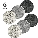 Drink Coasters, Handmade Woven Coasters for Drinks, 6 Pack (4.3 Inches Round, 8mm Thick), Super Absorbent Heat-Resistant Coasters for Drinks, Great Housewarming Gift (6 PACK, SOLID)