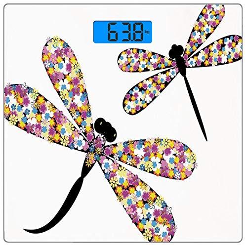 Digitale Präzisionswaage für das Körpergewicht Platz Modernes Dekor Ultra dünne ausgeglichenes Glas-Badezimmerwaage-genaue Gewichts-Maße,Schmetterlings-Libellen mit buntem anziehendem Flügel- und Schw
