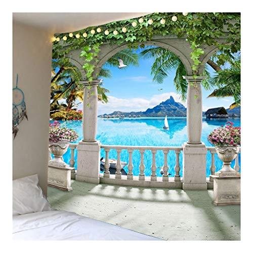 Jue A través de la tapicería Playa Blanca Balcón, Tela Colgar de la Pared de la decoración for el Dormitorio Sala de Estar del Dormitorio Verde zxy (Color : A, Size : 150 * 210cm)