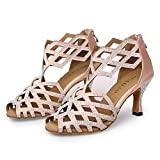 WUAILIM Women's Ballroom Rhinestone Dance Shoes, Latin Salsa Bachata Practice Performance Dancer Shoes