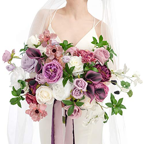 Ling's moment Mauve & Purple 17 Inch Calla Lily Artificial Flowers Deluxe Wedding Bouquets for Bride - Bridal Bouquet for Wedding Ceremony Anniversary, Bridal Shower and French Rustic Vintage Wedding