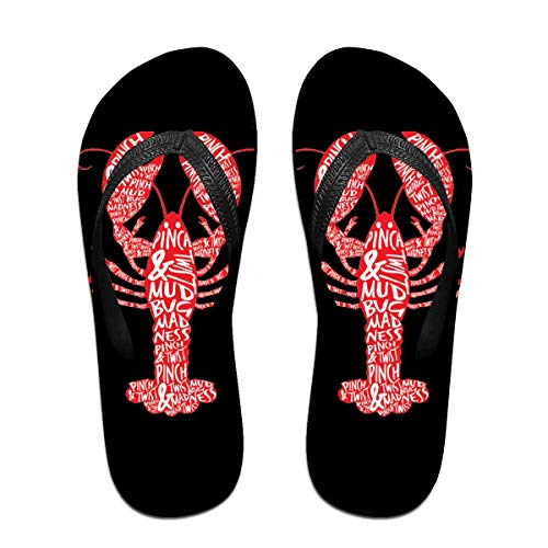 Iop 90p Peace Love Crawfish Chanclas Sandalias de Playa para Piscina, PVC, Negro, Large