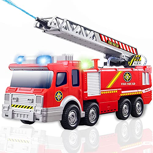 Feuerwehrauto Spielzeug mit Wasser Shooting und Lichter & Sounds-Realistische Feuerwehrauto-Modell mit ausziehbarer Leiter für Kleinkinder und Kinder Jungen Mädchen Alter 3 4 5 6 Jahre alte Geschenke