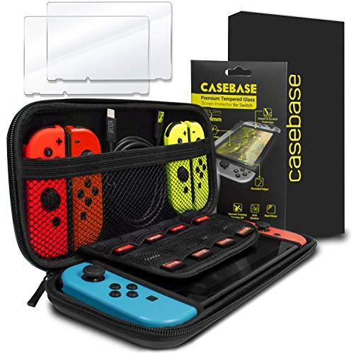 Casebase Nintendo switch Bundle con custodia per il trasporto e di protezione schermo in vetro temperato - ultra slim EVA sacchetto per il trasporto e 2 x pellicola in vetro temprato