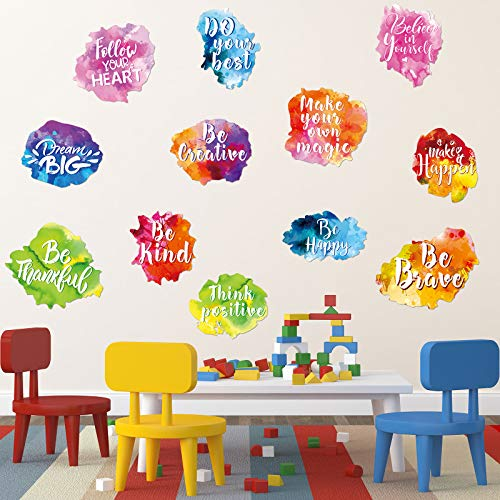 Zonon 6 Pieces Colorful Inspirational Wall Decal Watercolor Inspirational Quote Wall Sticker Motivational Lettering Sticker for Home Bedroom Bathroom Kitchen Classroom Playroom Kids Decor