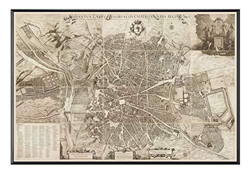 PLANO DE LA CIUDAD DE MADRID HACIA 1656 CUADRO ENMARCADO (A1115)- MOLDURA DE ALUMINIO NEGRO DE 1,5CM- MONTAJE EN PANEL ADHESIVO Y LIGERO (FOAM)- LAMINADO EN MATE (SIN CRISTAL) (65x100cm)