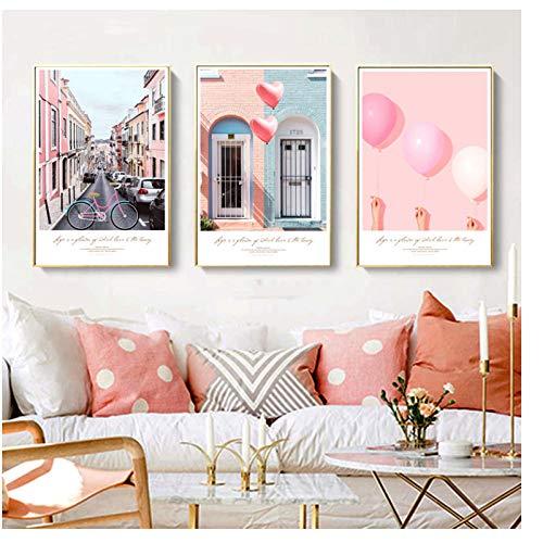 Nordic poster muurkunst canvas schilderkunst landschap ballon moderne pop art schilderijen canvas muurschildering voor woonkamer Room 50X70Cmx3 stuks geen lijst
